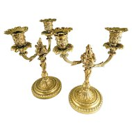 FINE Floral Detailed Pair of Bronze Ormolu Candelabra, French, 19th Century — Gilded