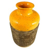 Mid Century Aldo Londi Bitossi Ceramiche Italian Vase w/ Incised Band, Bright Orange and Browns — HEAVY
