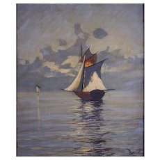 """Willy Seiler (German, 1903 -1988) Exceptional Oil on Canvas of """"Sailboat"""" Seascape, Karuizawa, Japan, WELL LISTED, Highly Collected ARTIST"""