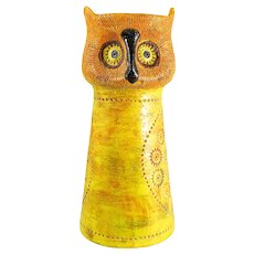 """Mid Century Italian Aldo Londi Bitossi Sgraffito """"OWL"""" Candle Stand for Rosenthal Netter, Oranges, Yellows, Greens — TALL and HEAVY"""