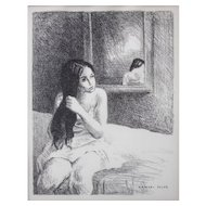 "LISTED ARTIST Raphael Soyer (Russian American, 1899 -1987) Original ""Woman On Bed"" Untitled Lithograph — Plate Signed"