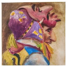 "LISTED ARTIST Susan Contreras (Mexican American, 1952-) Titled ""Double Face"" Monotype 1/1— c.2000 —Highly Exhibited"