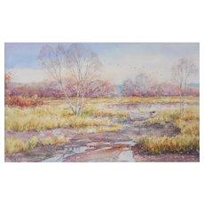 "LISTED ARTIST Robert D. Mac Gillis (American, 1936-2005) Titled ""Fall Departure"" Watercolor — c.1990 — Exceptional Draftmanship"