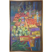 "LISTED ARTIST Marilyn Davis (American) Original Oil On Canvas Titled ""Fruit Stand"" — Abstract Modernist"