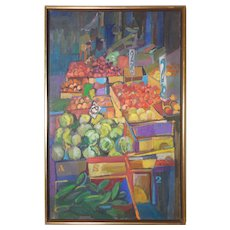 """LISTED ARTIST Marilyn Davis (American) Original Oil On Canvas Titled """"Fruit Stand"""" — Abstract Modernist"""