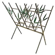 Metal Faux Bamboo & Leaf Folding Magazine Rack — Hollywood Regency Mid Century Style.