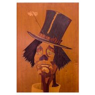 "Italian Exotic Marquetry Panel ""SAD CLOWN Face"" — Mid Century Modern, c.1950s, Rare Art Form, HIGHLY Collected"