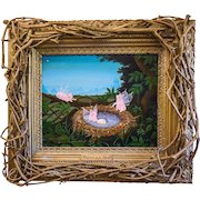 "Amos Shontz (American, 20th c.) Original Oil on Masonite ""Fairies in a Nest"" — FOLK ART w/ Artist Made Twig Frame"