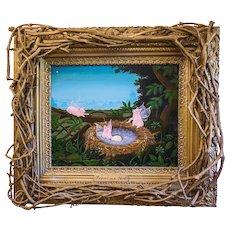"""Amos Shontz (American, 20th c.) Original Oil on Masonite """"Fairies in a Nest"""" — FOLK ART w/ Artist Made Twig Frame"""