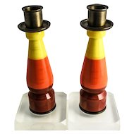 Modern Lucite, Bakelite and Brass Pair of Candlesticks, Mid Century, RARE & Unusual