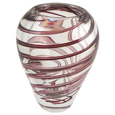 "FM Konstglas Swedish Art Glass ""Zanfirico"" Vase by Italian Designer Benito Marconi — RARE Vase, Signed — Mid Century"