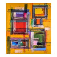 """Rutenilton Melo (Brazil) Contemporary Abstract Painting, Acrylic on Canvas — Large 40"""" x 43.75"""", Well Listed"""