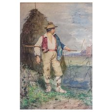 "Publio de Tommasi (Italian, 1849-1914) Original Antique c. 1877 Watercolor on Paper of ""Farmer Peasant"" — Well Listed & Collected"