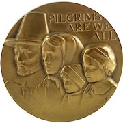 """PILGRIMS ARE WE ALL"" ""Mayflower"" Scuptural Solid Bronze Medallion by Anthony Notaro — Society of Medalists — 94th Issue"