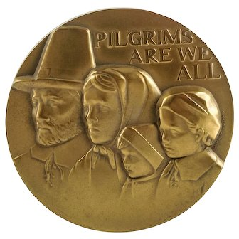 """""""PILGRIMS ARE WE ALL"""" """"Mayflower"""" Scuptural Solid Bronze Medallion by Anthony Notaro — Society of Medalists — 94th Issue"""