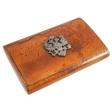 Antique Fine RUSSIAN WOOD Card / Cigarette Case with Imperial ROMANOV CREST — Faberge Style