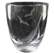 "Max Kjellvander Deep Cut Engraved ""Sailboat Seagulls"" Crystal Vase — Sweden, FINE & HEAVY"