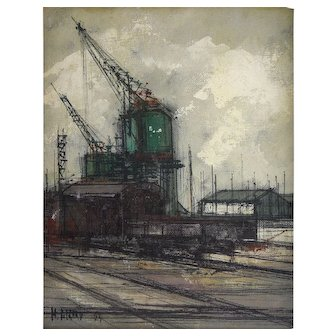 """Michel Girard (Swiss, French, 1934 - ) Mid Century Industrial Style Original Oil on Canvas entitled """"Street Scenes"""" — c.1964, Well Listed & Exhibited"""