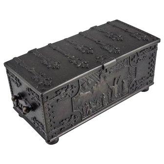 Ornate IRON ARTS Bronze Casket Box — 1219 Crusades King Valdemar Battle of Lyndanisse — Copenhagen Denmark, c.1940s