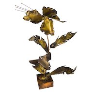 William & Bruce Friedle Copper Brass Metal Brutalist Torch Cut Flower Sculpture — Mid-Century Modern, Artist Signed, c.1974