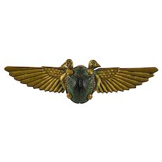 """Egyptian Revival Winged """"REAL Beetle"""" Scarab Brooch with Two Iconic Jeweled Eyed Asps"""