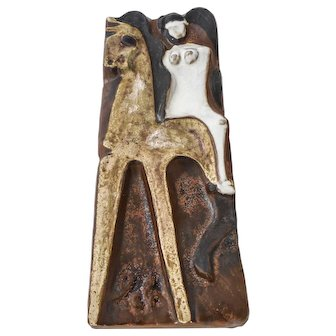 "Helmut Schäeffenacker Modernist German Art Pottery Ceramic Wall Plaque ""Lady Godiva"" - Signed"