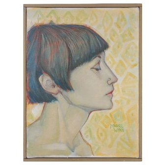 "Marvel Wynn (American, 1915-2002) ""Female Portrait"" Modernist Original Oil on Canvas — Well Listed, Exhibited."