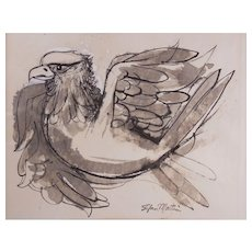 "Stefan Martin (American, New Jersey 1936 - 1994) Original Pen & Ink Illustration of ""Bald Eagle"" - Signed"