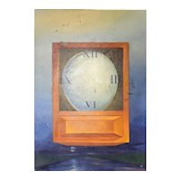 """Frederic C. Kaplan (American) Original Oil on Canvas, Abstract Illustration of """"Egg Clock"""" - PAFA Artist, Well Listed and Collected. Signed"""