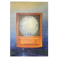 "Frederic C. Kaplan (American) Original Oil on Canvas, Abstract Illustration of ""Egg Clock"" - PAFA Artist, Well Listed and Collected. Signed"