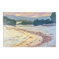 Lawrence Altaffer (American) Snowscape, Original impressionist Oil on Canvas -— Well Listed & Collected