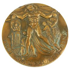 First National City Bank NY Sculptural Solid Bronze 150th Anniversary Medallion by Medallic Art