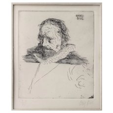 "Leonard Baskin Original Etching Entitled ""HANS BOL"" - Artist Proof, Well Listed, Collected and Exhibited"