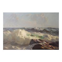 Alphonse Joseph Shelton (American, 1905 - 1976). Original Oil of Crashing Waves. - Listed, Highly Collected and Exhibited.
