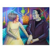 "Tom Herbert (American) ""FIRST DATE"" Original Acrylic Airbrush - Frankenstein and Girlfriend"