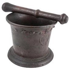 19th Century Cast Iron Mortar & Pestle, Shield Mark, Pharmacy / Early Mining Use. RARE