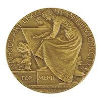 1915 School Art League Of New York City Merit Award. Solid Bronze, By Artist John Flanagan