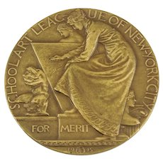 1915 School Art League Of New York City Merit Award. Solid Bronze, By Artist John Flanagan