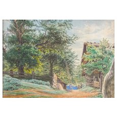"19th Century Watercolor ""FARM LANDSCAPE"", Original, Exceptional Draftsmanship"