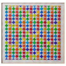 "Anne Youkeles (Austrian, 1920) 3D Color Silkscreen ""Between The Lines"" Signed Orginal"