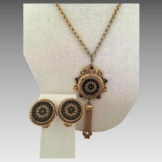 Laurentian Jewelry Montreal (LJM) Victorian Style Sunburst Black Glass Tassel Necklace and Matching Earrings