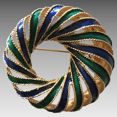 Marcel Boucher Blue and Green Enameled Pin
