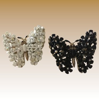 Set of Two Butterfly Pins - One Black, One White