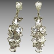 Vintage Dangle / Drop Sparkling Rhinestone Earrings