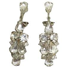 Vintage Dangle / Drop Sparkling Rhinestone Earrings