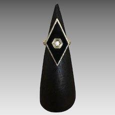 Art Deco Onyx and Diamond Ring Set in 14k White Gold