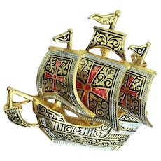 Vintage Galleon Damascene Pin - Made in Spain