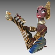 "Book Piece: Sterling Coro Craft Enameled ""Egyptian Girl Playing Harp"" Brooch - 1942 Alfred Katz"