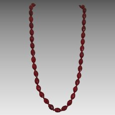 Vintage Dior Red Earrings and Faceted Glass Bead Necklace