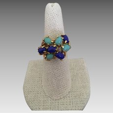 Fabulous Faux Lapis and Turquoise Ring